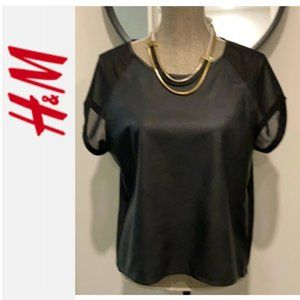 H&M Black Faux Leather Sheer Top